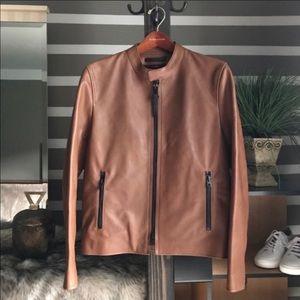 🌿Coach Leather Racer Jacket In Saddle🌿